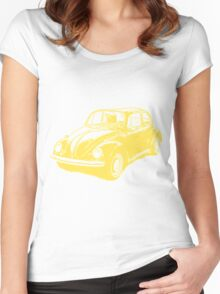 Classic VW Beetle Tee Yellow Ink Women's Fitted Scoop T-Shirt
