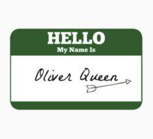 Hello My Name Is Oliver Queen Sticker - Green Arrow  Baby Tee