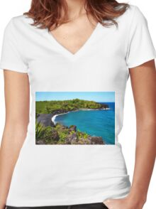 Waianapanapa Beach in Maui, HAWAII Women's Fitted V-Neck T-Shirt