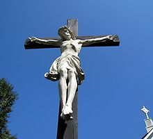 Statue of Jesus On The Cross by Jean Gregory  Evans