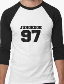 BTS Bangtan Boys Jungkook Football Design Black Men's Baseball ¾ T-Shirt