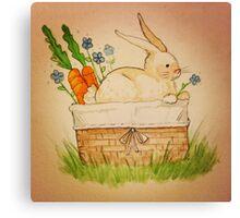 Spring Bunny Basket Canvas Print