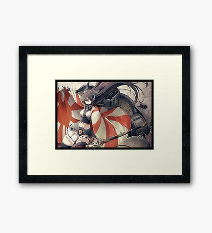 Nagato with rising Sun Flag Framed Print