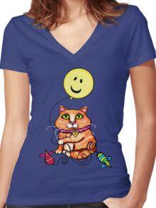 Cat Lover's Cute Tabby  T-Shirt Women's Fitted V-Neck T-Shirt