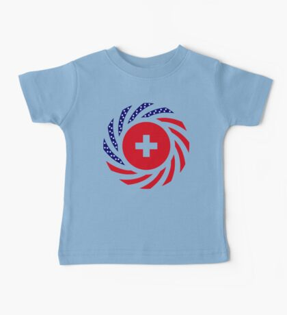Swiss American Multinational Patriot Flag Series Baby Tee