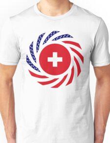 Swiss American Multinational Patriot Flag Series Unisex T-Shirt