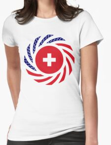Swiss American Multinational Patriot Flag Series Womens Fitted T-Shirt