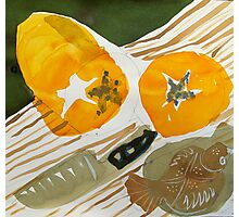 still life with knife and fruit Photographic Print
