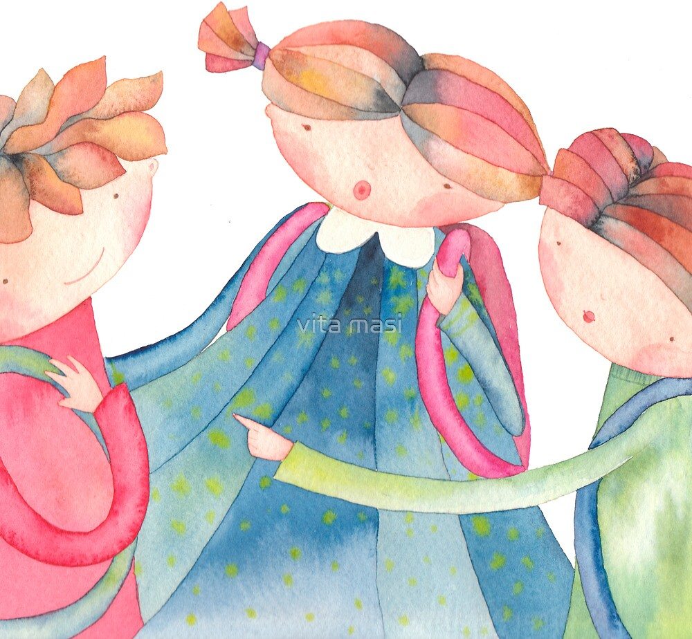 """group of schoolchildren,illustration of the story """"backpack"""" by vimasi"""