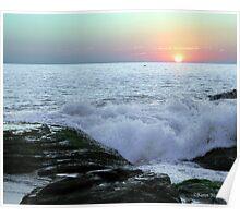 Sunset Ocean Beach Waves Poster