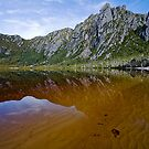 Cliffs reflected in a south west Tasmania lake by Michael Gay