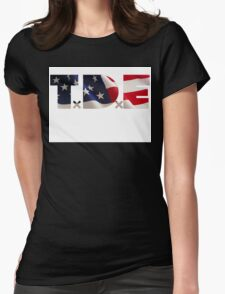 TDE TOP DAWG RED WHITE BLUE AMERICA FOURTH OF JULY 4TH Womens Fitted T-Shirt