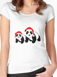 Cute Cartoon Pandas In Santa Hats Women's Fitted Scoop T-Shirt