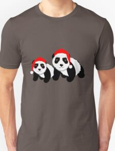 Cute Cartoon Pandas In Santa Hats T-Shirt