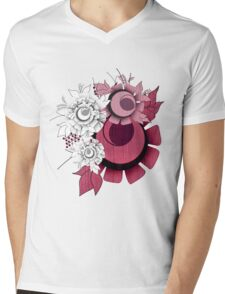 Flower Illustration Mens V-Neck T-Shirt