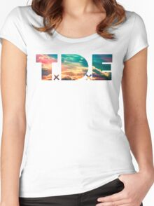TDE TOP DAWG SKY BLUE CLOUDS HAZE FLARE Women's Fitted Scoop T-Shirt