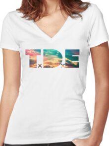 TDE TOP DAWG SKY BLUE CLOUDS HAZE FLARE Women's Fitted V-Neck T-Shirt
