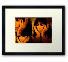 Sally walks the street without even look at the ground... Framed Print