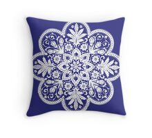 Victorian Ceiling Rose / Doily Pattern - Blue & White Throw Pillow