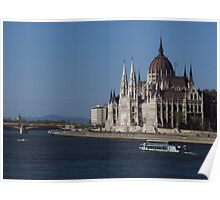 Hungarian Parliament from Chain Bridge Poster