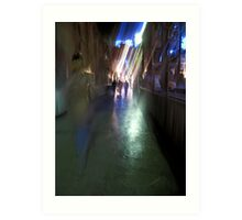 After the rain-Paris sidewalk, early evening Art Print