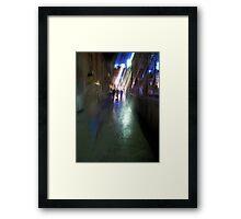 After the rain-Paris sidewalk, early evening Framed Print