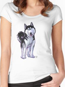 Animal Parade Husky Silhouette Women's Fitted Scoop T-Shirt