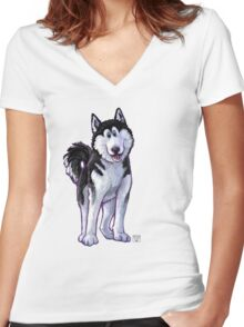 Animal Parade Husky Silhouette Women's Fitted V-Neck T-Shirt