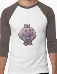 Animal Parade Hippopotamus Silhouette Men's Baseball ¾ T-Shirt