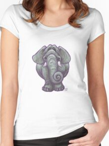 Animal Parade Elephant Silhouette Women's Fitted Scoop T-Shirt