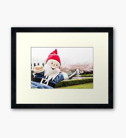 Sakura Fountain Gnome Framed Print