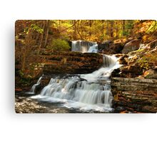 Cascading Waterfall in Autumn. Canvas Print
