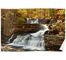 Cascading Waterfall in Autumn. Poster