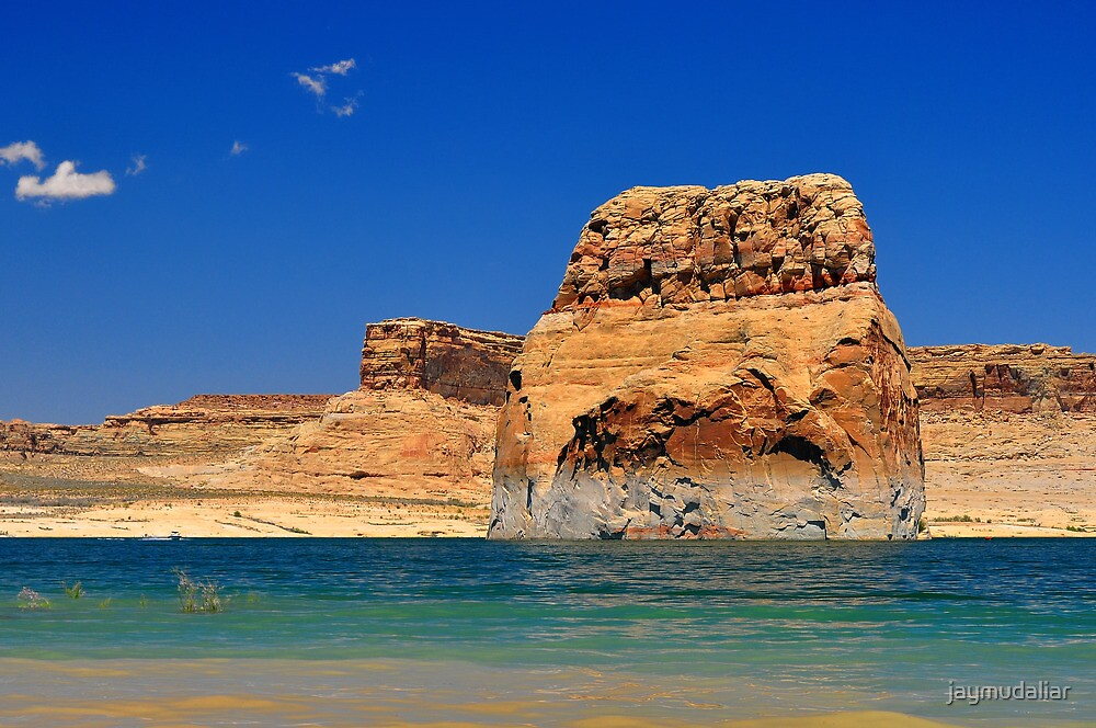 Solitary Rock in the Middle of Lake Powell by jaymudaliar