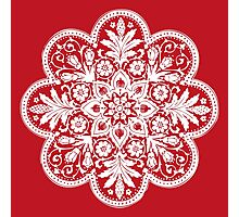 Victorian Ceiling Rose / Doily Pattern - Red & White Photographic Print