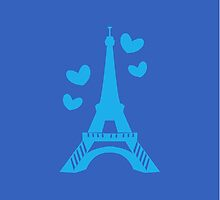 French France Eiffel Tower with love hearts Paris by jazzydevil