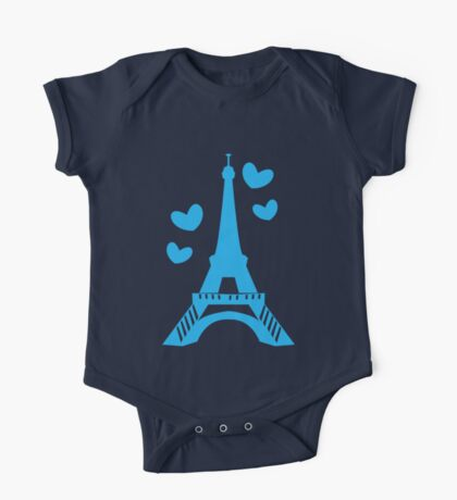 French France Eiffel Tower with love hearts Paris One Piece - Short Sleeve