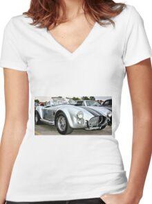Classic Cobra Hot Rod Women's Fitted V-Neck T-Shirt
