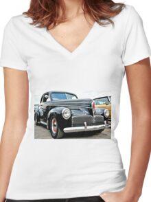 Classic Black Studebaker Women's Fitted V-Neck T-Shirt