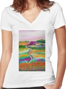 Tuscan countryside Women's Fitted V-Neck T-Shirt