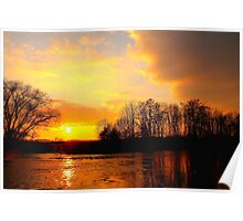 Golden River Tees Sunset, 27-March-2011 Poster