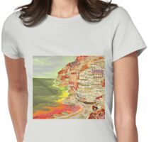 A coastal view of Positano Womens Fitted T-Shirt
