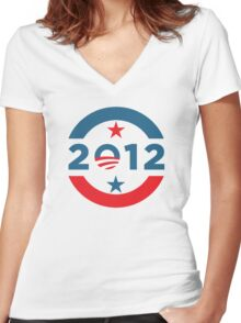 Obama 2012 Election T-Shirt Women's Fitted V-Neck T-Shirt