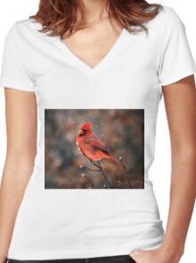 Cardinal in a Snowstorm Women's Fitted V-Neck T-Shirt