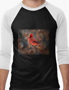 Cardinal in a Snowstorm Men's Baseball ¾ T-Shirt