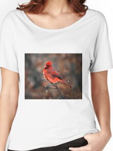 Cardinal in a Snowstorm Women's Relaxed Fit T-Shirt