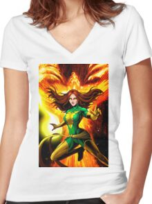 The Phoenix Jean Grey  Women's Fitted V-Neck T-Shirt