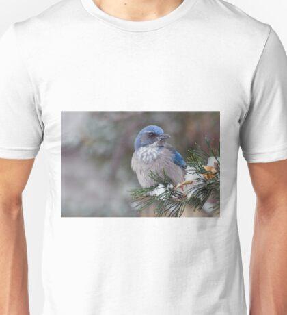 Western Scrub-Jay on snowy branch Unisex T-Shirt
