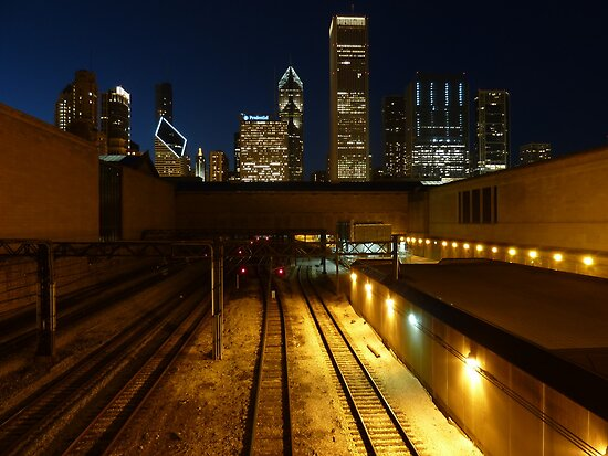 Chicago Night Skyline by bm220