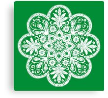 Victorian Ceiling Rose / Doily Pattern - Green & White Canvas Print